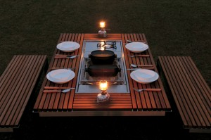 Outdoor dining table and grill